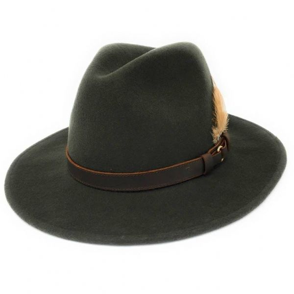 Green Fedora Hat, Showerproof, Wool - Ranger